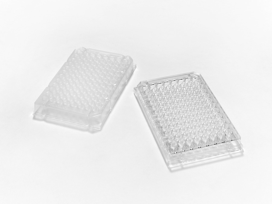 Flat Bottom Evergreen Scientifics 222-8030-01F Polystyrene Untreated Microplate with Lid 96-Well Sterile Pack of 100